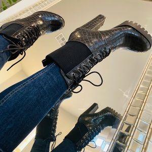 NEW IN! Black Patent Crocodile Boots